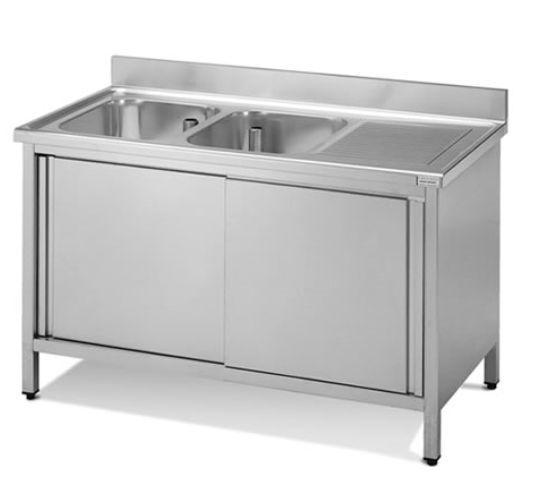 Lavello con alzatina e doppia vasca e sgocciolatoio – Guzzon Bilance ...